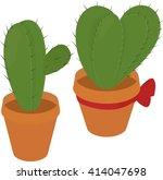 cactus in  brown pot  desert... | Shutterstock .eps vector #414047698