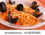 Spaghetti With Seafood In A...