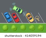 colored parked cars on the... | Shutterstock .eps vector #414059194
