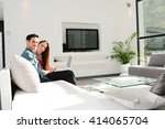 cheerful young couple man and...   Shutterstock . vector #414065704
