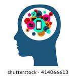 flat human head vector with...