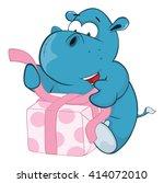 illustration of a cute hippo.... | Shutterstock . vector #414072010