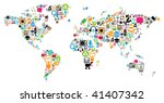 world map made of internet and... | Shutterstock .eps vector #41407342