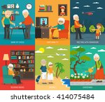 old aging people quality life 6 ... | Shutterstock .eps vector #414075484