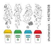vector waste sorting set. hand...   Shutterstock .eps vector #414078838