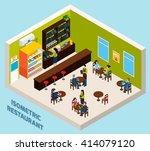 restaurant bar or cafe interior ... | Shutterstock .eps vector #414079120