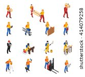 builders work at construction... | Shutterstock .eps vector #414079258