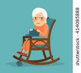 knitting. old woman knits.... | Shutterstock .eps vector #414085888