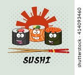 smiling sushi roll set cartoon... | Shutterstock .eps vector #414093460