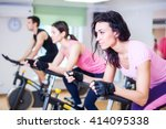 Group Training People Biking I...