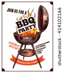 bbq barbecue vintage party... | Shutterstock .eps vector #414102166
