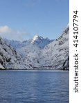 view of trollfjord with snow... | Shutterstock . vector #414107794