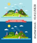 travel island landscape with... | Shutterstock .eps vector #414115828