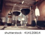 red wine in a french restaurant ... | Shutterstock . vector #414120814