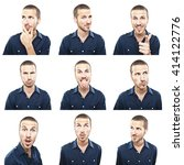 young man face expressions... | Shutterstock . vector #414122776