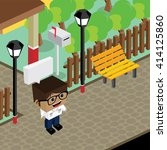 cartoon life isometric | Shutterstock .eps vector #414125860