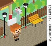 cartoon life isometric | Shutterstock .eps vector #414125878