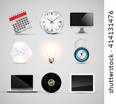 office realistic icon set ... | Shutterstock .eps vector #414131476