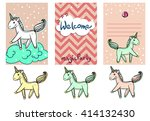 pony on the cloud. candies.... | Shutterstock .eps vector #414132430