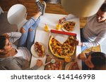 young friends having party at... | Shutterstock . vector #414146998