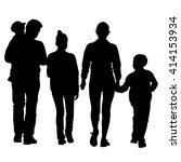 black silhouettes family on... | Shutterstock . vector #414153934