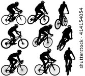 set silhouette of a cyclist... | Shutterstock . vector #414154054