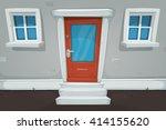 cartoon house door and windows...   Shutterstock .eps vector #414155620