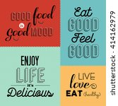 set of vintage food quotes in... | Shutterstock .eps vector #414162979