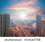 Small photo of Aerial photography at city elevated bridge of sunrise pink clouds