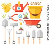 gardening work tools flat icons ... | Shutterstock .eps vector #414167689
