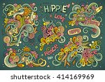 colorful vector hand drawn... | Shutterstock .eps vector #414169969