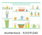 gardening tools and flowers on... | Shutterstock .eps vector #414191260