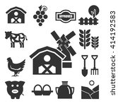 farm icons set | Shutterstock .eps vector #414192583