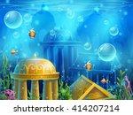 Atlantis Ruins   Vector...