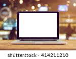 conceptual workspace  laptop... | Shutterstock . vector #414211210