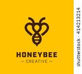 vector bee logo design template.... | Shutterstock .eps vector #414213214