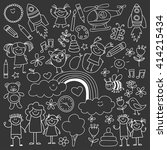 vector set of kindergarten... | Shutterstock .eps vector #414215434