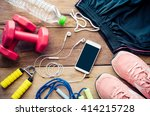 fitness concept with exercise... | Shutterstock . vector #414215728