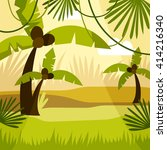 cartoon background jungle | Shutterstock .eps vector #414216340