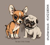 puppies chihuahua and pug on... | Shutterstock .eps vector #414218044