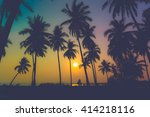 silhouette coconut palm trees... | Shutterstock . vector #414218116