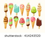 ice cream collection  vector...