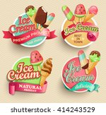 ice cream emblems  labels and... | Shutterstock .eps vector #414243529