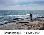 fisherman black sea odessa pier | Shutterstock . vector #414250540