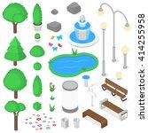 park elements set. isometric... | Shutterstock .eps vector #414255958