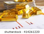 Gold Bars With Dollar Banknote...
