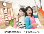 excite woman go shopping with... | Shutterstock . vector #414268678