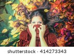 miss october   girl lying in... | Shutterstock . vector #414273343