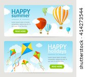 summer holiday card set with...   Shutterstock .eps vector #414273544