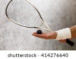 Closeup Of Squash Racket And...